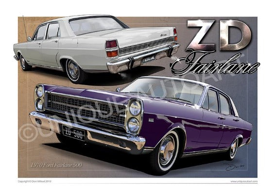 FORD ZD FAIRLANE CAR PRINTS (unframed)