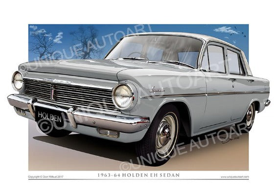 EH HOLDEN CAR DRAWINGS - MALLACOOTA GREY