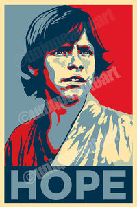 "LUKE SKYWALKER - Obama ""Hope"" Style Art Print"