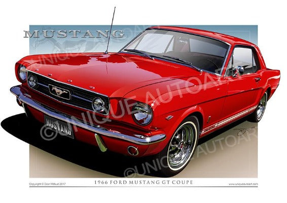 1966 Mustang Coupe Art Prints - Candy Apple Red