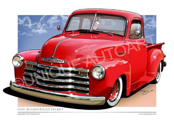 COMMERCIAL RED CHEVY PICKUP
