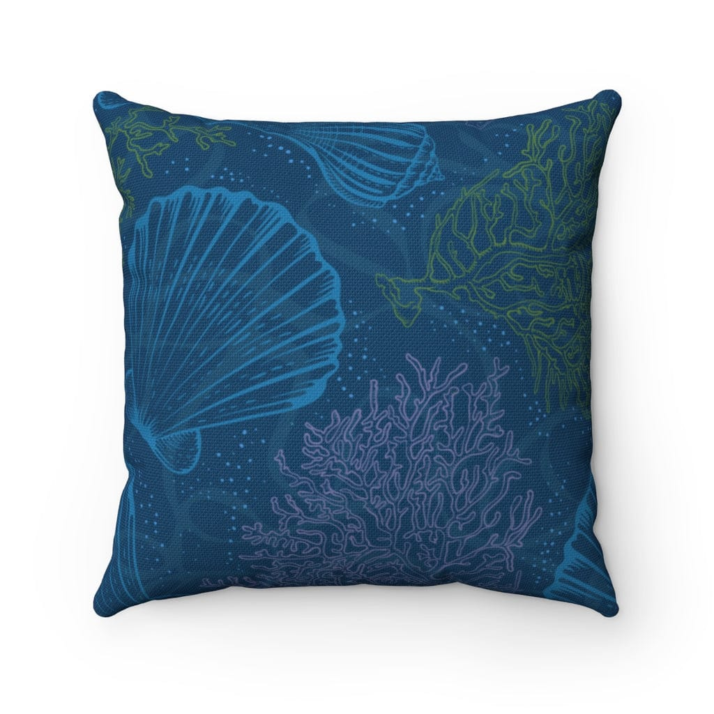 Indigo Sea Square Pillow - Mountains & Mermaids