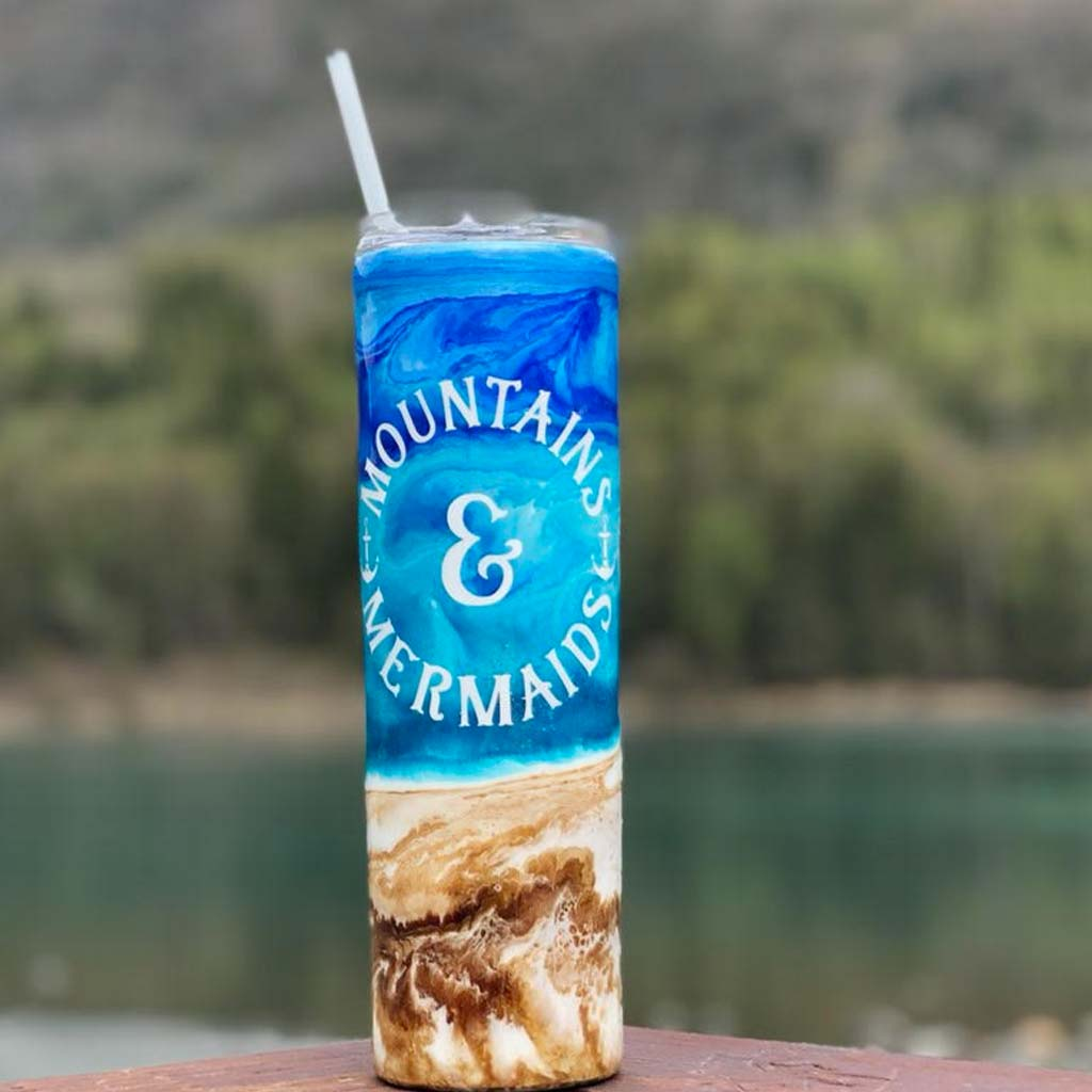 Classic Beach Bum Tumbler - Mountains & Mermaids