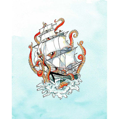 Nautical Vintage Kraken Art Print