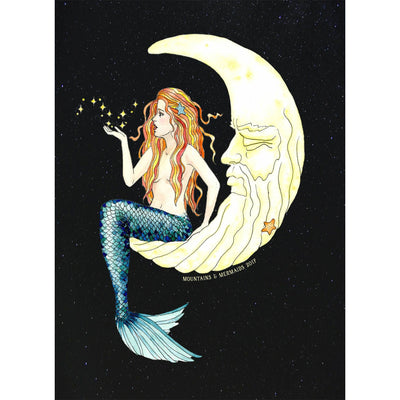 Mermaid In The Moon Art Print - Mountains & Mermaids