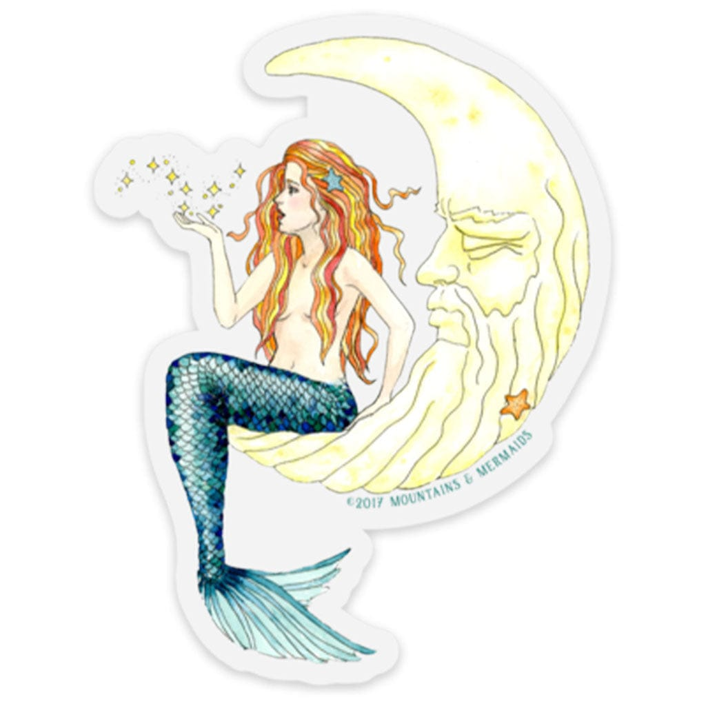 Mermaid In The Moon Sticker - Mountains & Mermaids