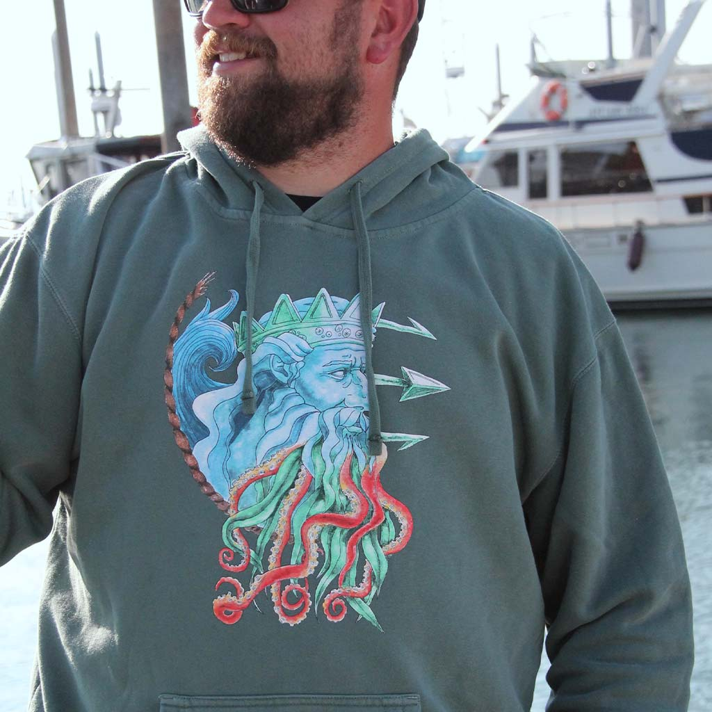 Poseidon Midweight Unisex Hoodie - Mountains & Mermaids
