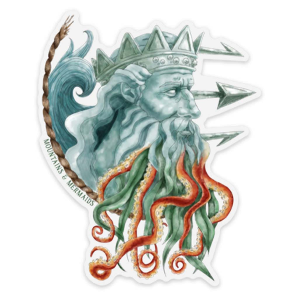 Poseidon Sticker - Mountains & Mermaids