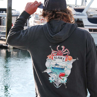 Keep'n Alaska Salty Midweight Unisex Hoodie - Mountains & Mermaids