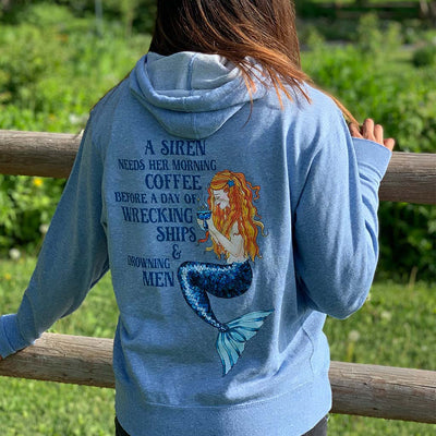 Siren's Brew Unisex French Terry Hoodie - Mountains & Mermaids