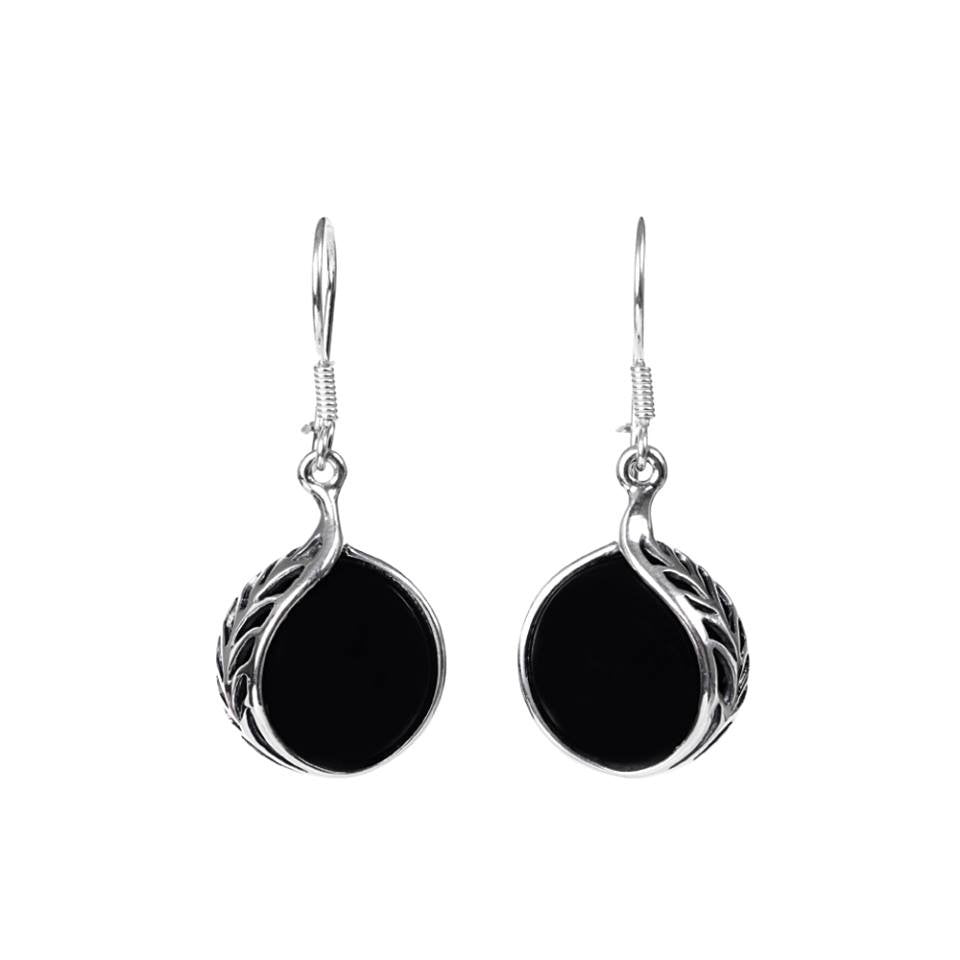 onyx black earrings zemora blooms products asha