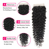 VRBest 8A Deep Wave Virgin Hair Closure 4*4 Free Middle Three Part