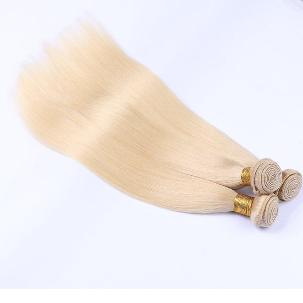 613 Blonde Color Straight Virgin Human Hair 4 Bundles With Lace Closure