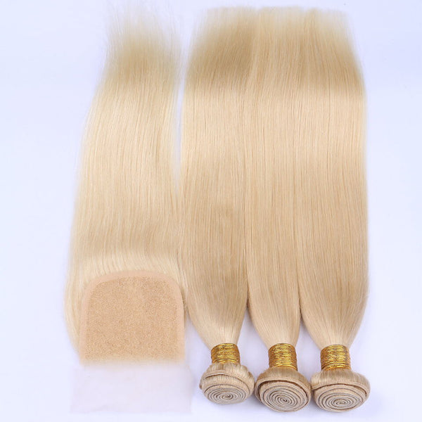 VRBest 3 Bundles Indian Virgin Hair Straight With Closure Uprocessed Raw Remy Human Hair