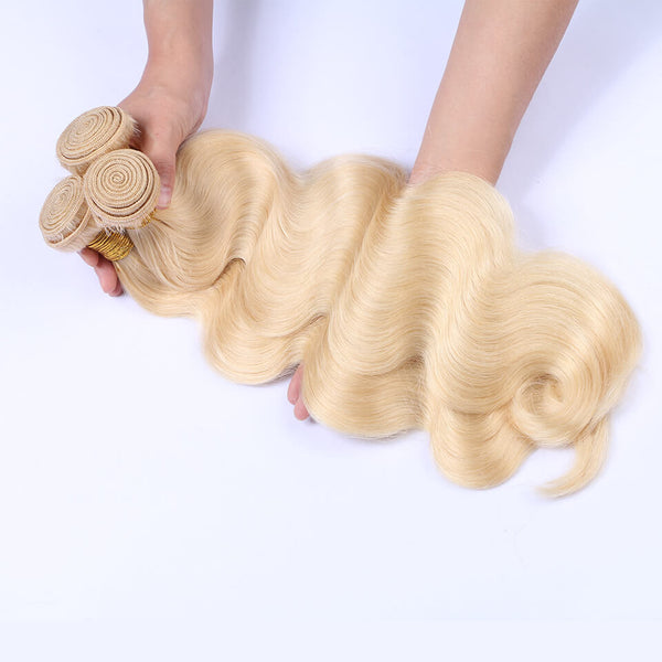 613 Blonde Color Body Wave Virgin Human Hair 4 Bundles With Lace Closure