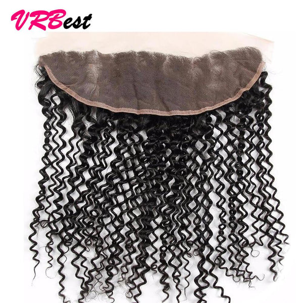 VRBest 13*4 Ear To Ear Lace Frontal Closure 8A Brazilian Peruvian Curly Virgin Hair
