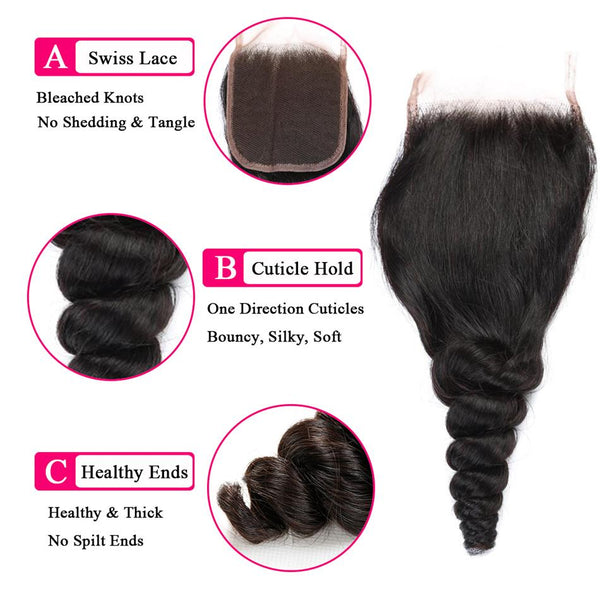VRBest Loose Wave Virgin Human Hair Closure 4*4 Free Middle Three Part