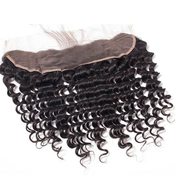 VRBest 13*4 Ear To Ear Lace Frontal Closure Deep Wave Human Hair Closure Free Part