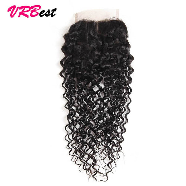 VRBest Curly Virgin Human Hair Closure 4*4 Peruvian Malaysian Indian Hair Closure
