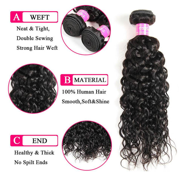 VRBest Brazilian Water Wave Virgin Hair 1 Bundles Peruvian Malaysian Indian Hair