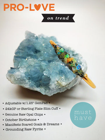 Dainty Raw Opal Chips & Pyrite Rainbow Cuff! - HollaForMyMala