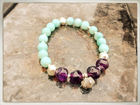 "Sterling Lotus, ""Strength Through Serenity"" Amethyst and Blue Amazonite Mala - HollaForMyMala"