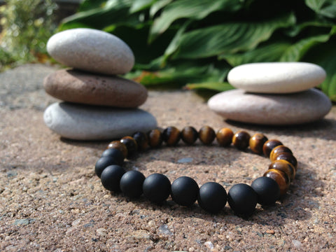 Men's Mala bracelet Tigers Eye & Matte Onyx - HollaForMyMala