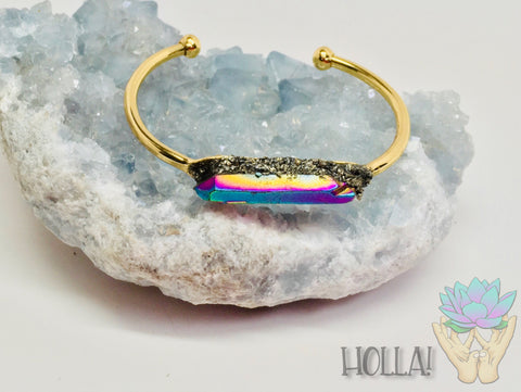 Rainbow Quartz Mardi Gras! Bangle Bracelet Titanium - HollaForMyMala