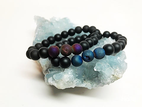 Protection & Magic Unisex Mala Beads Drusy, Druze Agate - HollaForMyMala