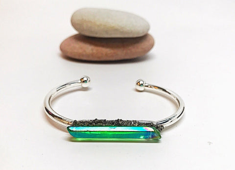 To Health! Lyme Green Aura Quartz Silver Boho Crystal Cuff - HollaForMyMala