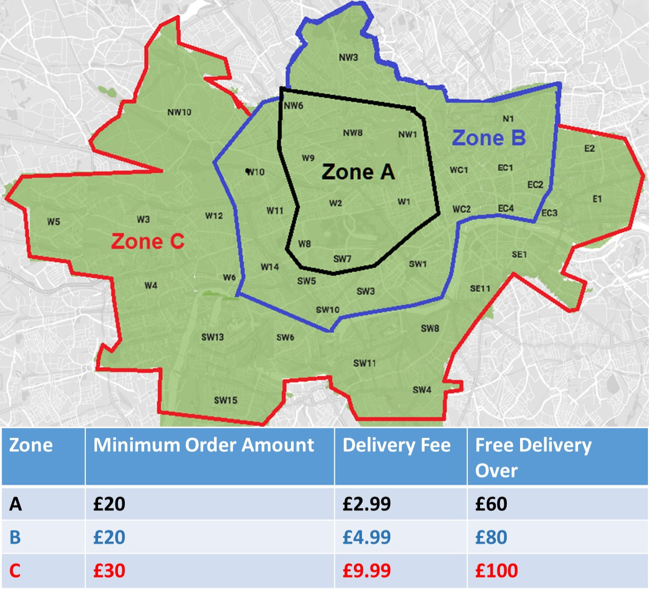 Zones In London Map.Delivery Shipping Zones Fees Sakbeh