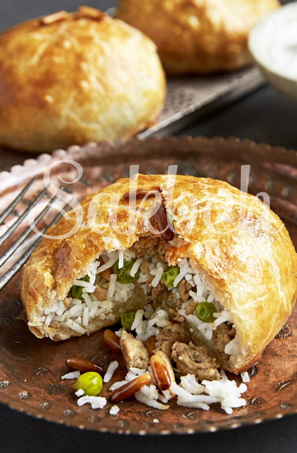 Oozi - Filo crust filled with rice, peas and lamb shank chunks