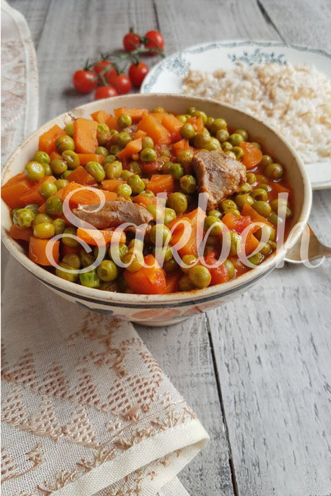 Bazella w Riz - Peas and carrots tomato stew