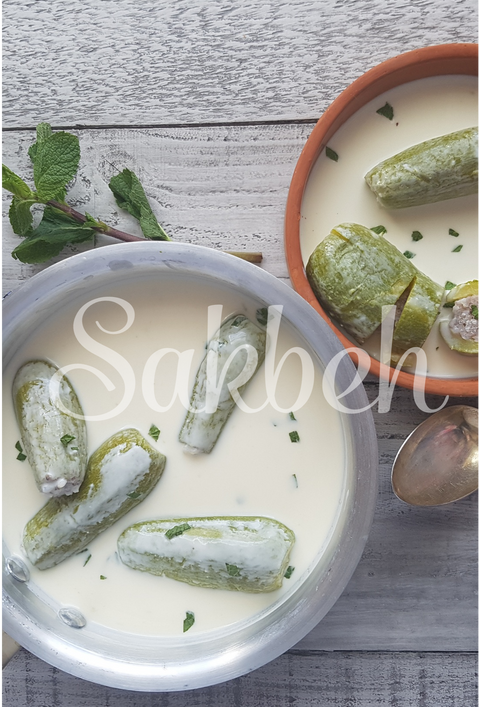 Koussa b Laban (Ablama) - Stuffed courgettes in mint-infused yogurt