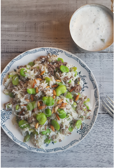 Riz w Fool - Broad beans with rice and minced lamb