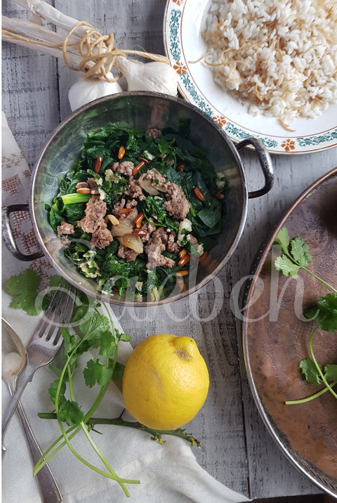 Sabanekh w Riz - Spinach stew with coriander and garlic