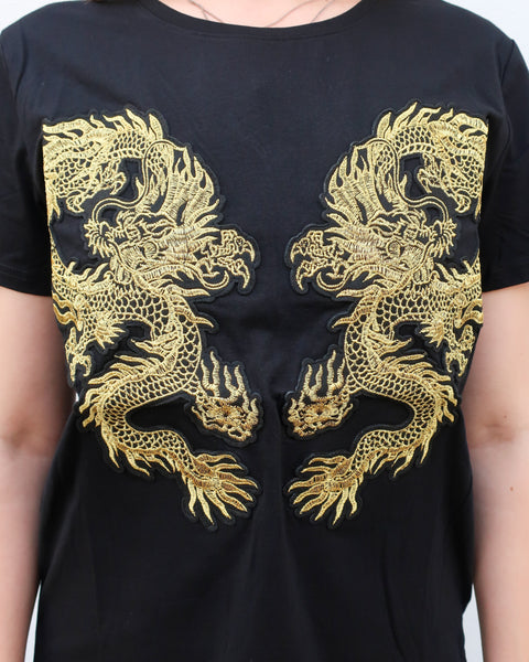 T-Shirt W. Gold Dragon