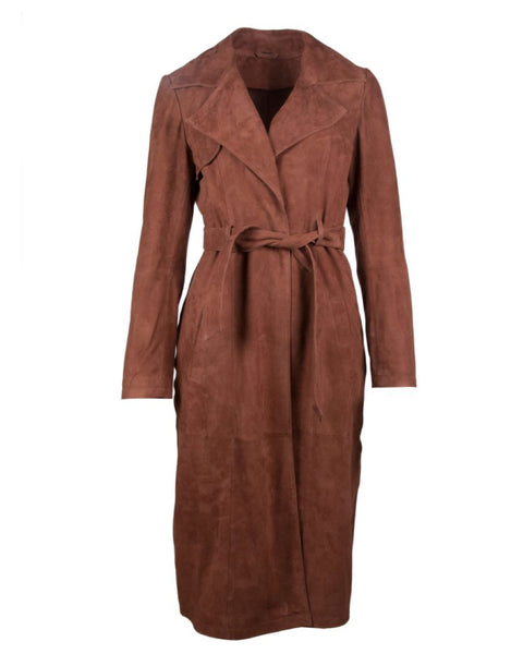 Goat Suede Draped Coat
