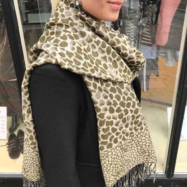 Pashmina Scarf Army Green / Beige
