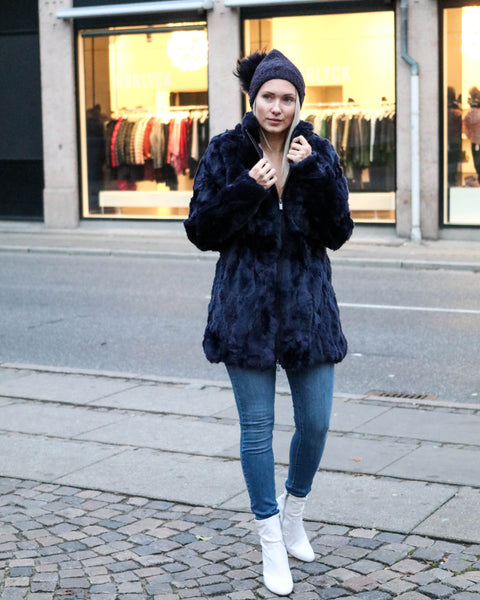 Long Coat With Collar Midnight Blue