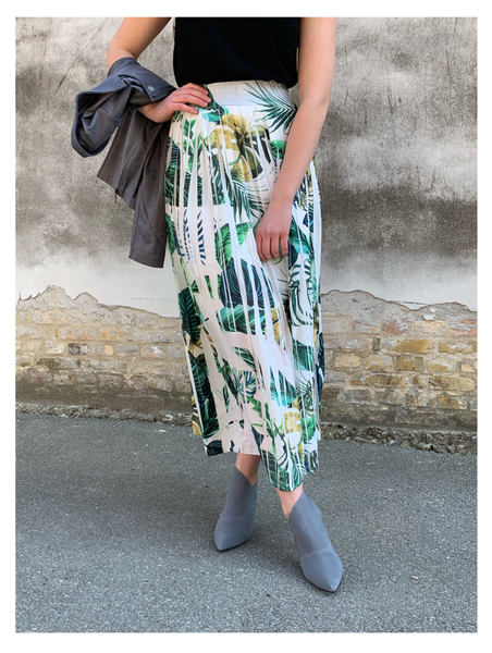 Palm Plissé Skirt