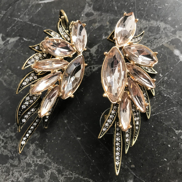Statement earrings with zircons