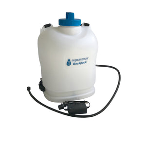 Backpack water tank & pump for water fed pole window and solar cleaning AquaSpray 4 Gallon, Rechargable 12v battery.