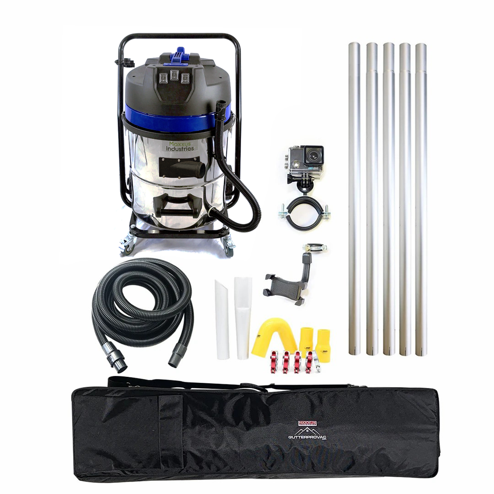 20ft (2 Story) Gutter Vacuum Cleaning System, 16 Gal, Vacuum, Inspection Camera and Bag (Bundle Discount)