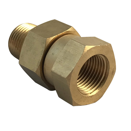 Brass Swivel Coupling, 3/8 inch male NPT to 3/8 female NPT thread for pressure washer hoses