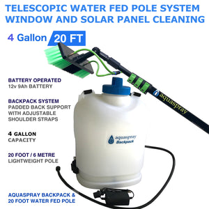 Backpack Water Tank with Water Fed Pole Window and Solar Cleaning System
