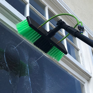Water Fed Pole Kit for Window Solar Cleaning (30 Foot Reach) Brush and Squeegee