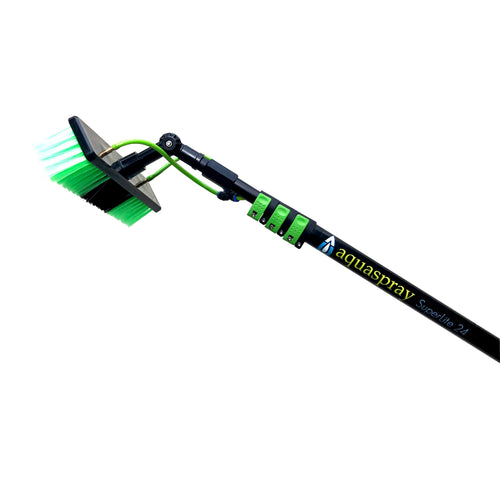 Window Cleaning & Solar Washing Tool - Water Fed Pole Brush (24 Foot Reach)