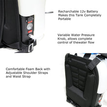 Load image into Gallery viewer, Backpack water tank & pump for water fed pole window and solar cleaning AquaSpray 4 Gallon, Rechargable 12v battery.