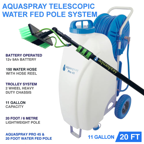 Window and Solar Panel Cleaning System: Rolling 11 Gallon Pro45 Water Tank with Water Fed Pole